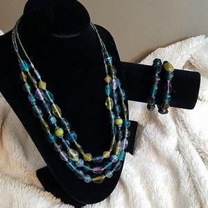 Three Strand Beaded Necklace Yellow, Blue & Purple